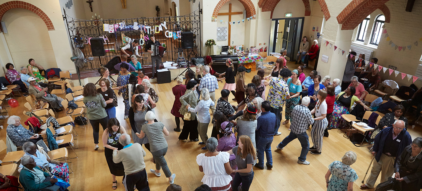 people dancing in a church