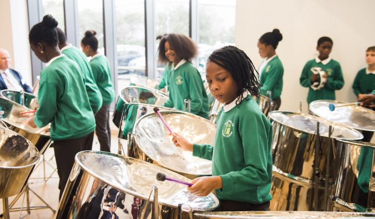 students playing steel drums